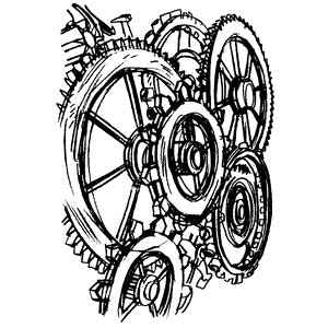 Tim Holtz Rubber Stamp GEARS Stampers Anonymous P4-2098