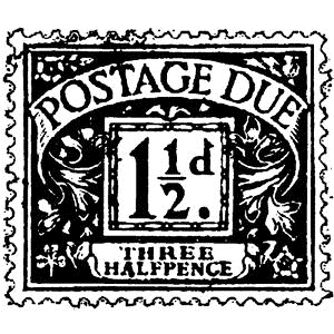 Tim Holtz Rubber Stamp POSTAGE DUE Stampers Anonymous D3-2101 zoom image