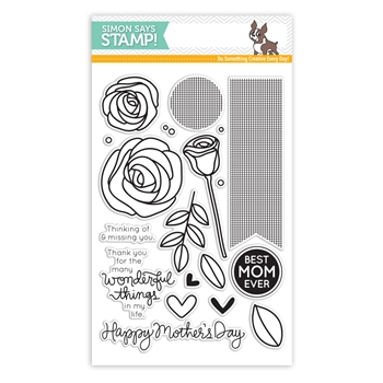 Simon Says Clear Stamps BEST MOM EVER SSS130501 Mothers Fathers Florals *