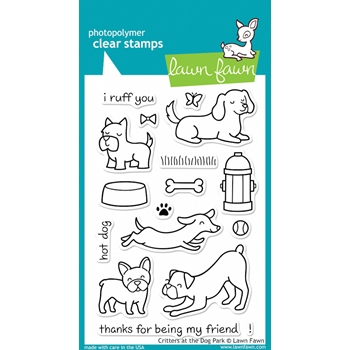 Lawn Fawn CRITTERS AT THE DOG PARK Clear Stamps LF515*