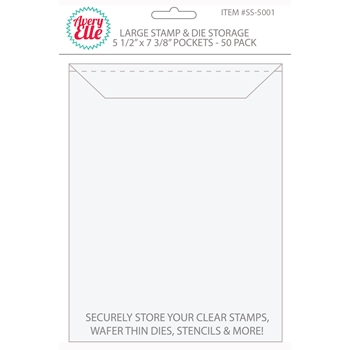 Avery Elle LARGE Stamp & Die Storage Pockets 5.5 x 7.375 Set of 50 SS-5001