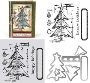 Tim Holtz Sizzix Framelits TREE BLUEPRINT Wafer Thin Die & Stamp Set 659379