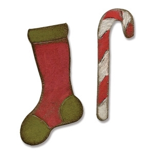 Tim Holtz Sizzix MINI STOCKING & CANDY CANE Dies 658775 * Preview Image