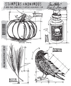 Tim Holtz Cling Rubber Stamps  HALLOWEEN BLUEPRINT 2 CMS167