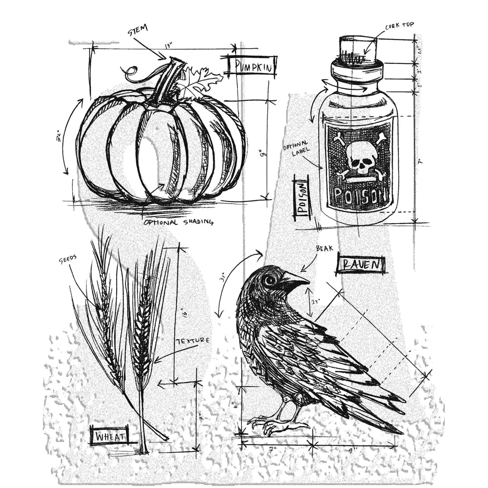 Tim Holtz Cling Rubber Stamps  HALLOWEEN BLUEPRINT 2 CMS167 zoom image