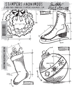 Tim Holtz Cling Rubber Stamps  CHRISTMAS BLUEPRINT 2 CMS168 Preview Image