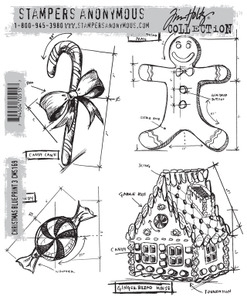 Tim Holtz Cling Rubber Stamps  CHRISTMAS BLUEPRINTS 3 CMS169