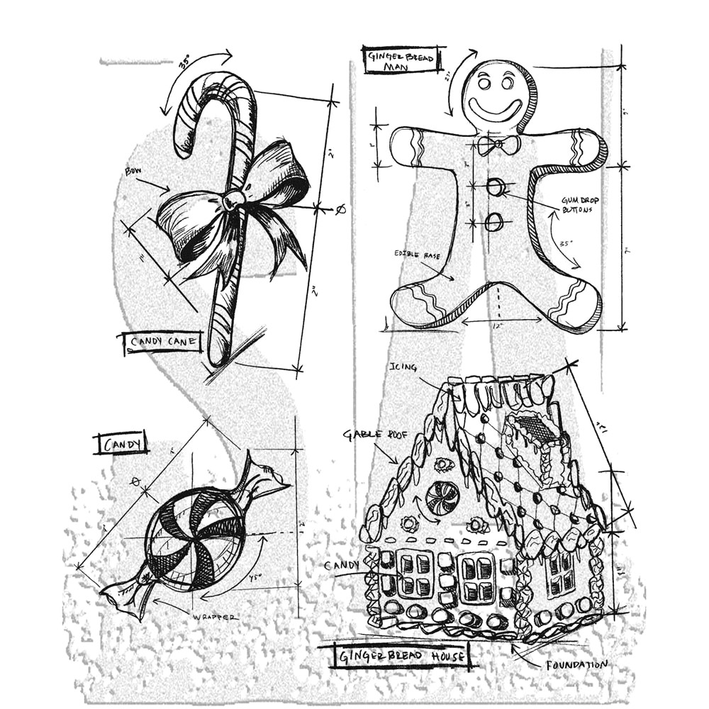 Tim Holtz Cling Rubber Stamps  CHRISTMAS BLUEPRINTS 3 CMS169 zoom image