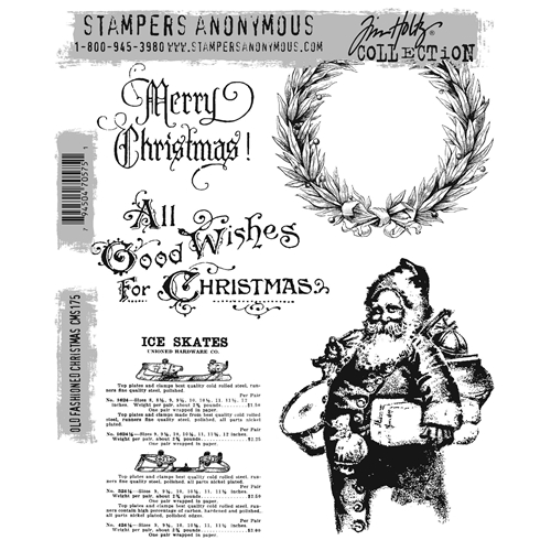 Tim Holtz Cling Rubber Stamps OLD FASHIONED CHRISTMAS cms175 Preview Image