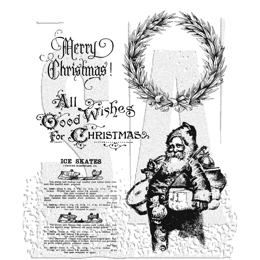 Tim Holtz Cling Rubber Stamps OLD FASHIONED CHRISTMAS cms175 zoom image