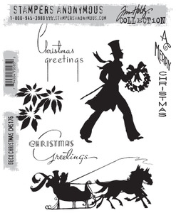 Tim Holtz Cling Rubber Stamps DECO CHRISTMAS cms176 zoom image
