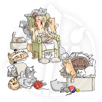 Art Impressions CAT LADY Cling Rubber Stamps 4340*