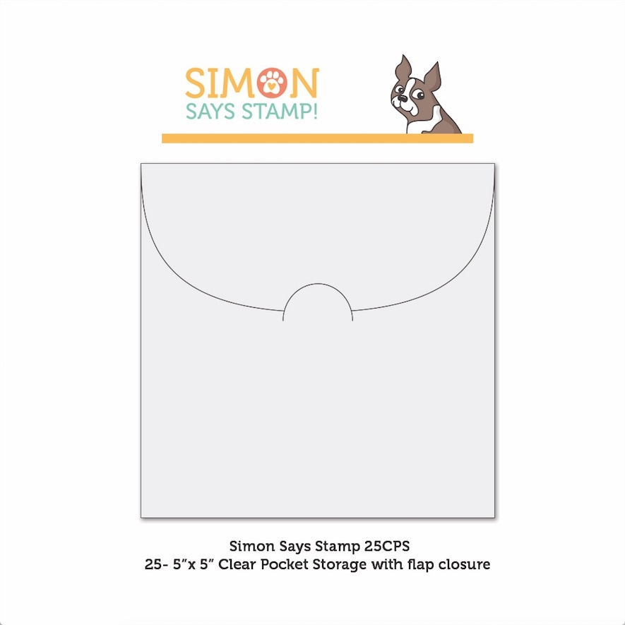 Simon Says Stamp CLEAR POCKETS Storage 5 inches x 25 25CPS ** zoom image