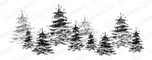 Impression Obsession Cling Stamp BRUSH TREE LINE E7724 Preview Image