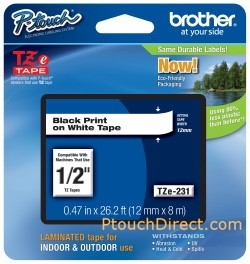 Brother P-Touch 1/2 Black Print on White Tape Preview Image