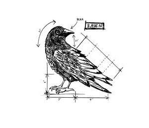 Tim Holtz Rubber Stamp RAVEN SKETCH Stampers Anonymous U2-2175 Preview Image