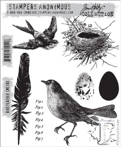 Tim Holtz Cling Rubber Stamps BIRD FEATHER cms180