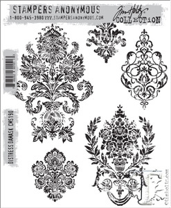 Tim Holtz Cling Rubber Stamps DISTRESS DAMASK cms190