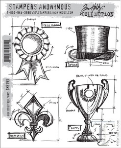 Tim Holtz Cling Rubber Stamps HIGH SOCIETY BLUEPRINTS cms193  Preview Image