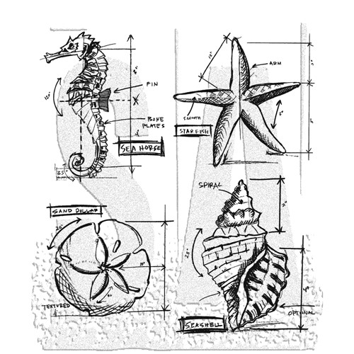 Tim Holtz Cling Rubber Stamps NAUTICAL BLUEPRINT cms194 Preview Image