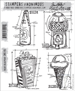 Tim Holtz Cling Rubber Stamps TREATS BLUEPRINT cms195*