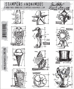 Tim Holtz Cling Rubber Stamps CMS196 MINI BLUEPRINTS