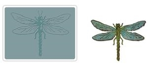 Tim Holtz Sizzix LAYERED DRAGONFLY Bigz Die With Texture Fades 659579 zoom image