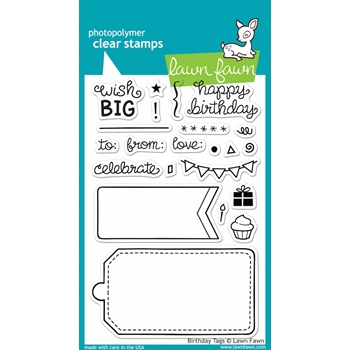 Lawn Fawn BIRTHDAY TAGS Clear Stamps LF663