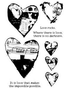 Dina Wakley COLLAGED HEARTS Media Cling Rubber Stamp MDR41306 zoom image