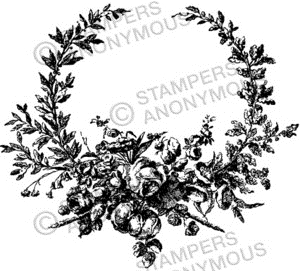 Tim Holtz Rubber Stamp FLORAL WREATH Stampers Anonymous U2-2293 zoom image