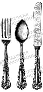 Tim Holtz Rubber Stamp SILVERWARE Stampers Anonymous U3-2294* zoom image