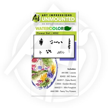 Art Impressions FLOWER SET Watercolor Cling Rubber Stamps 4052