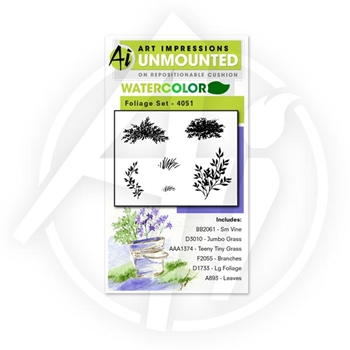 Art Impressions FOLIAGE SET Watercolor Cling Rubber Stamps 4051