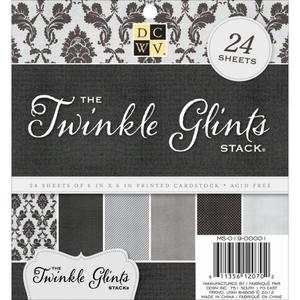 DCWV Cardstock 6 x 6 TWINKLE GLINTS Glitzy Glitter Paper Stack MS-019-00001 zoom image