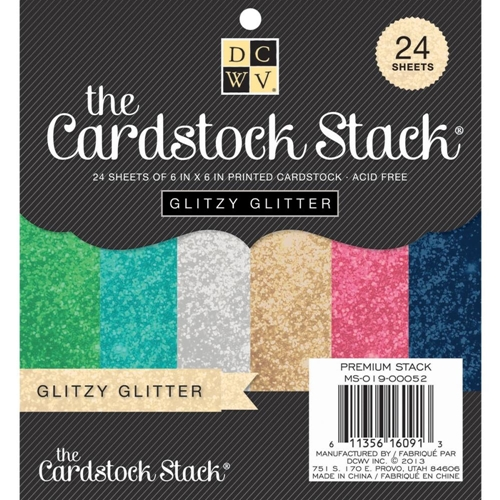 DCWV Cardstock 6 x 6 GLITZY GLITTER Paper Stack Matstack MS-019-00052 Preview Image