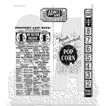 Tim Holtz Cling Rubber Stamps AT THE MOVIES CMS081