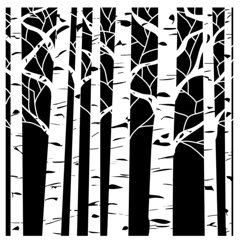 The Crafter's Workshop SMALL ASPEN TREES 6x6 Template TCW252S Preview Image