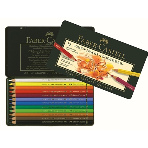 Faber-Castell POLYCHROMOS COLORED PENCILS 12 Piece Set in Tin 110012 Preview Image