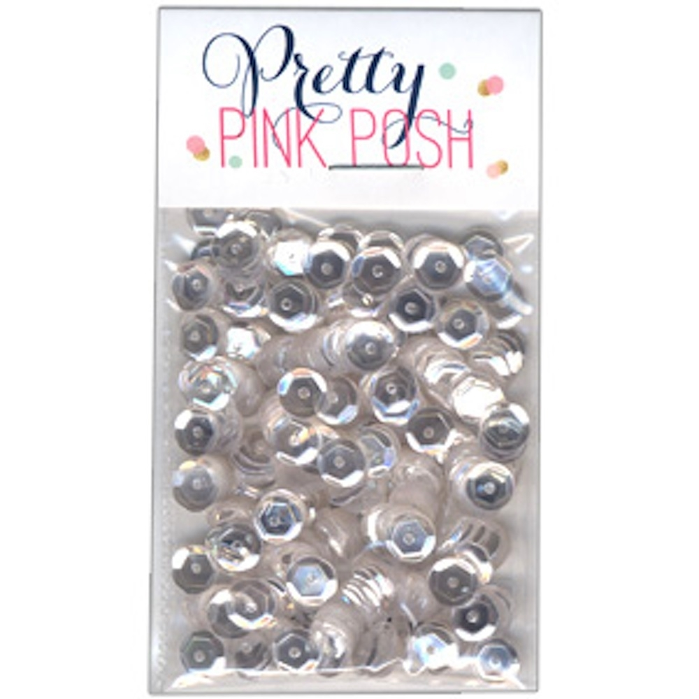 Pretty Pink Posh 6MM SPARKLING CLEAR Cupped Sequins zoom image