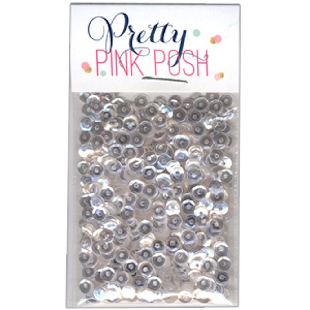 Pretty Pink Posh 4MM SPARKLING CLEAR Cupped Sequins zoom image