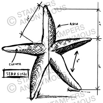 Tim Holtz Rubber Stamp STARFISH SKETCH Stampers Anonymous P1-2356*