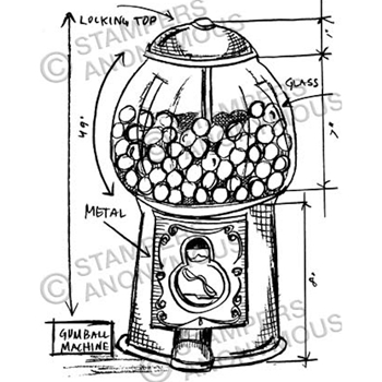 Tim Holtz Rubber Stamp GUMBALL SKETCH Stampers Anonymous P1-2358