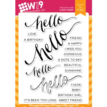 Wplus9 HAND LETTERED HELLO Clear Stamps CL-WP9HLH