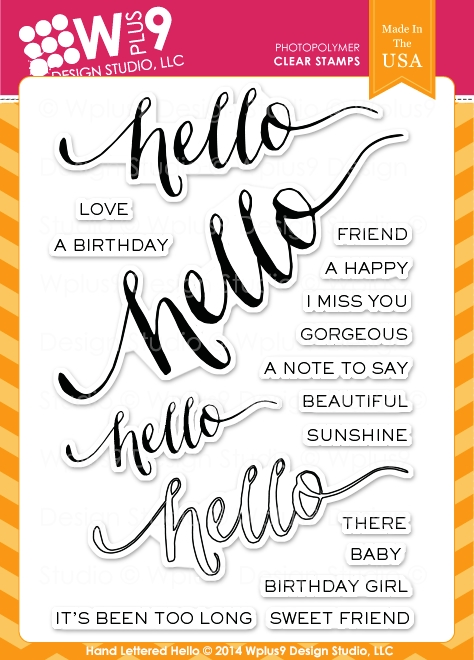 Wplus9 HAND LETTERED HELLO Clear Stamps CL-WP9HLH zoom image