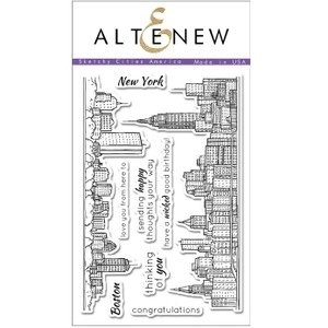 Altenew SKETCHY CITIES AMERICA Clear Stamp Set ALT1107
