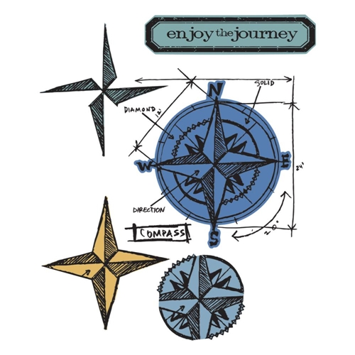 Tim Holtz Sizzix Framelits COMPASS BLUEPRINT Wafer Thin Die & Stamp Set 659883 Preview Image