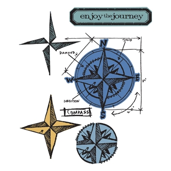 Tim Holtz Sizzix Framelits COMPASS BLUEPRINT Wafer Thin Die & Stamp Set 659883