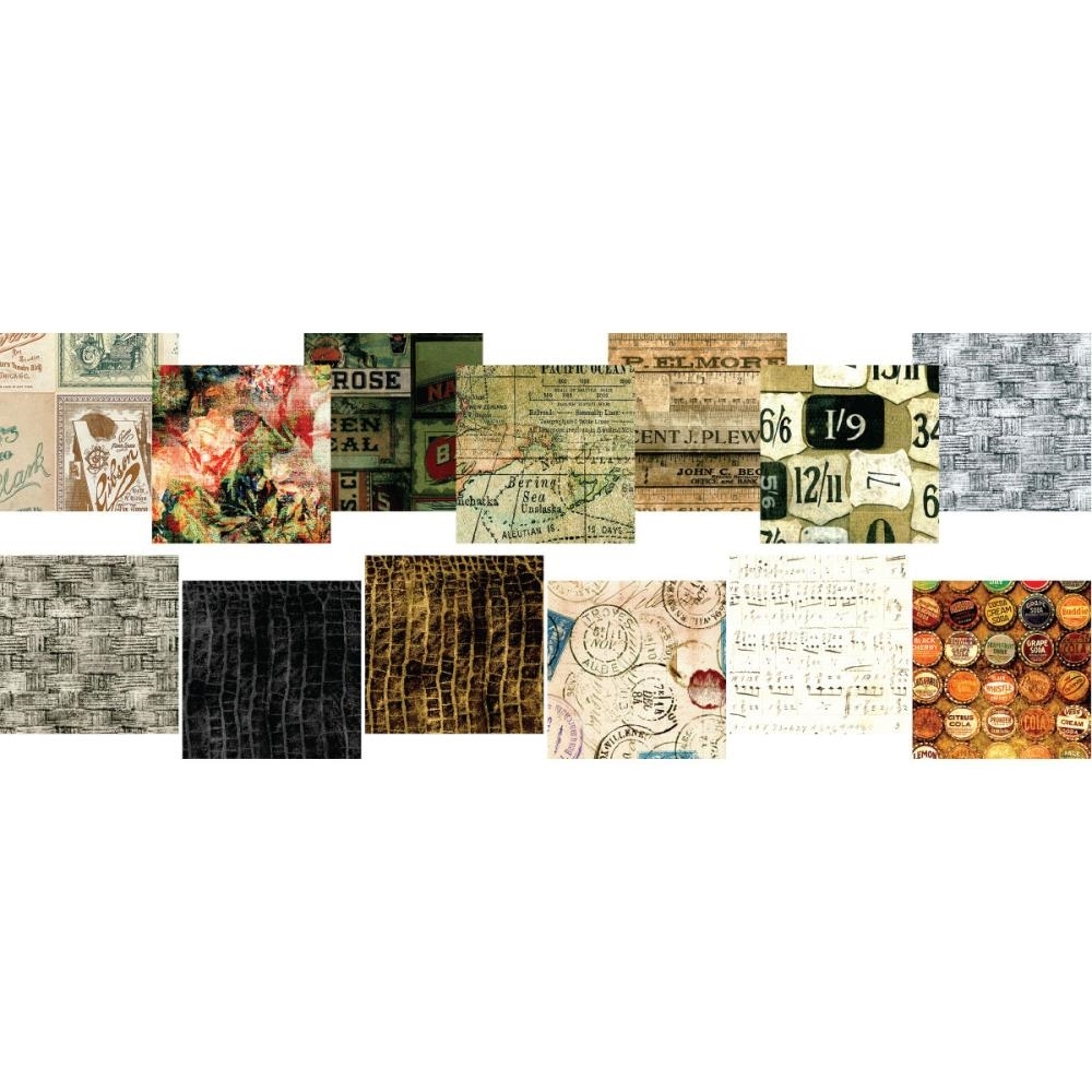 Tim Holtz Fabric Eclectic Elements 16763 FABRIC CRAFTING PACK 6X6 8PC zoom image