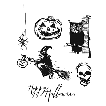 Tim Holtz Cling Rubber Stamps CARVED HALLOWEEN CMS197