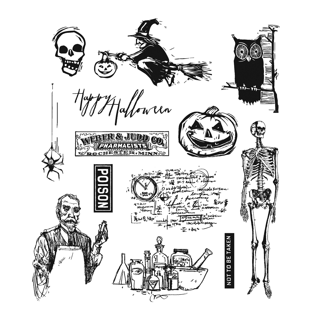Tim Holtz Cling Rubber Stamps MINI HALLOWEEN 4 CMS198 zoom image